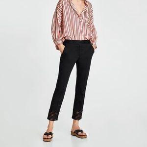 Zara • Embroidered Hem Ankle Pants